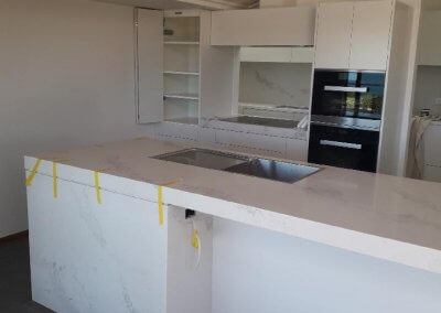 Statuario Maximus CaesarStone mitered to 80mm