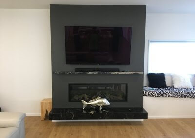 Titanium Gold Hearth and Mantel
